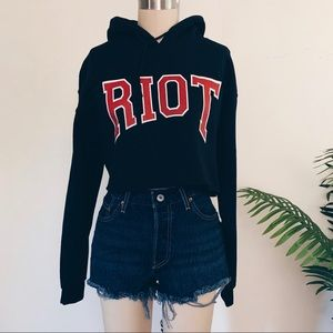 Missguided Riot Cropped Hoodie